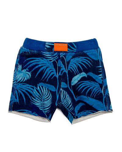 Cotton-Blend Palm Tree Shorts, Blue, Size 3-9 Months