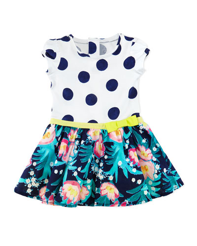 Polka-Dot & Floral-Print Combo Dress, White/Multicolor, Size 6M-3