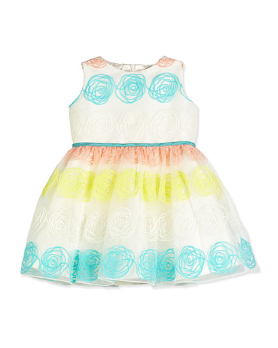 Sleeveless Rosette Tulle Dress, White, Size 4-6