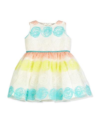 Sleeveless Rosette Tulle Dress, White, Size 7-14