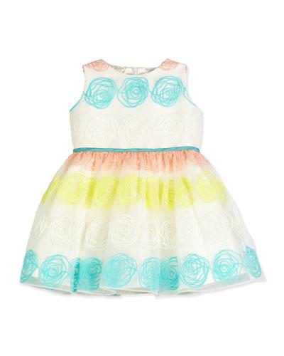 Sleeveless Rosette Tulle Dress, White, Size 12M-3