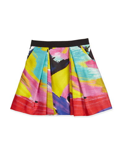 Ponte Brushstroke Pleated Skirt, Multicolor, Size 8-14