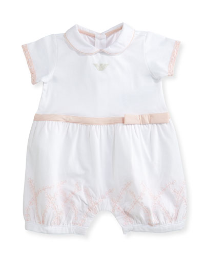 Collared Lace-Trim Bubble Playsuit, Pink/White, Size 3-12 Months