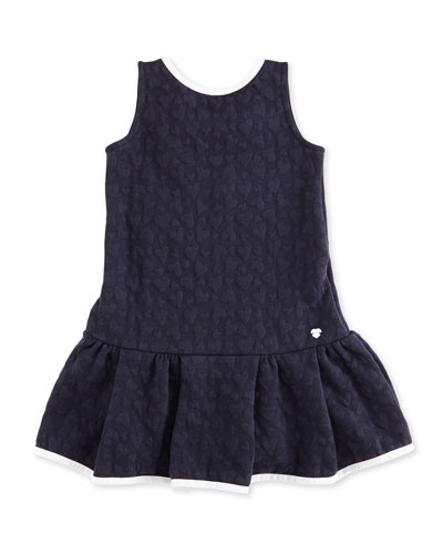 Sleeveless Heart-Jacquard Stretch Dress, Indigo, Size 2-8