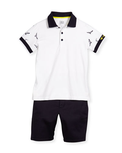 Short-Sleeve Polo Shirt & Twill Shorts Set, Light Almo, Size 10-14