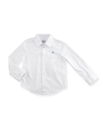 Stretch Button-Front Poplin Shirt, White Wash, Size 10-14