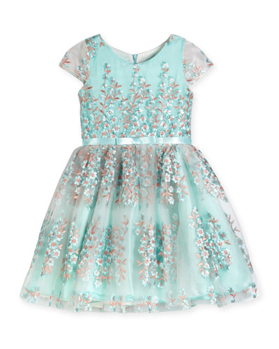 Cap-Sleeve Floral Embroidered Tulle Dress, Blue, Size 7-16