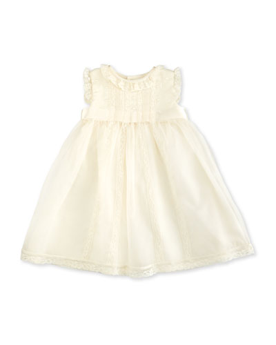 Sleeveless Lace-Trim Silk Organza Dress, Ivory, Size 3-24 Months