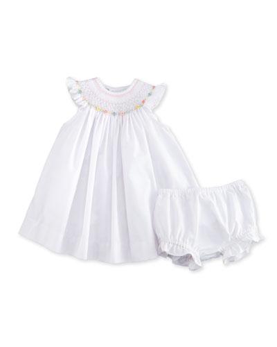 Sleeveless Floral-Trim Bishop Dress w/ Bloomers, White, Size 3-24 Months
