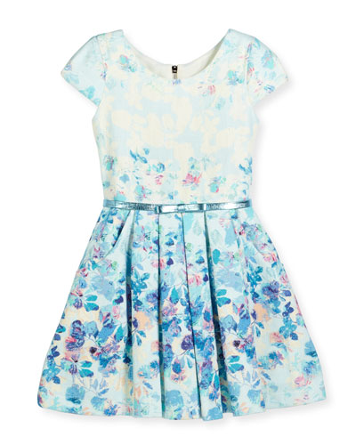 Sky's the Limit Cap-Sleeve Floral Dress, Blue, Size 4-6