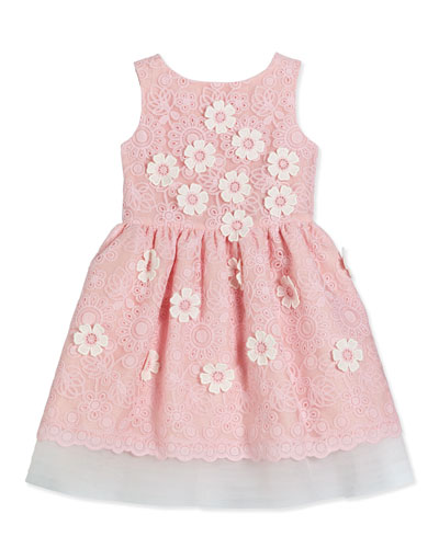 Sleeveless Floral Lace A-Line Dress, Pink, Size 2-6