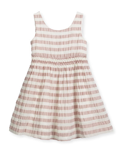 Mariela Sleeveless Striped Open-Back Dress, Light Copper Pink, Size 4-14