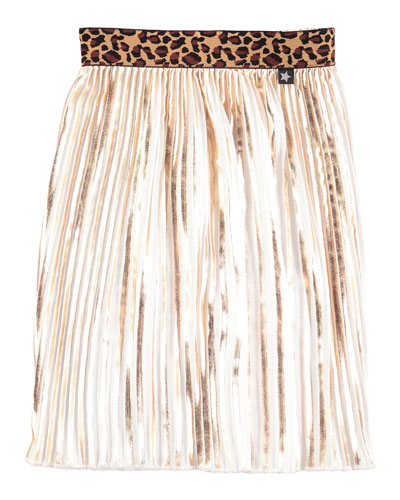 Pleated Contrast-Trim Metallic Skirt, Gold, Size 7-14