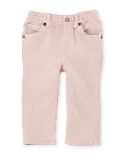 Lois Straight-Leg Stretch Jeans, Light Pink, Size 6M-3