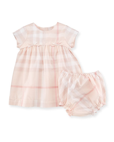 Thea Cap-Sleeve Check Dress, Ice Pink, Size 3-24 Months