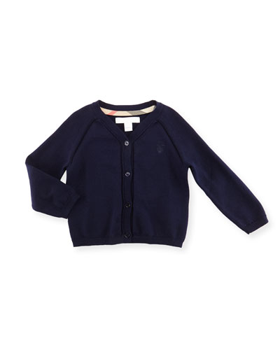 Raglan Cotton Button-Front Cardigan, Navy, Size 6M-3