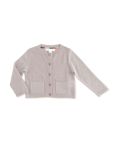 Pipan Textured Cotton Cardigan, Pink, Size 6M-3