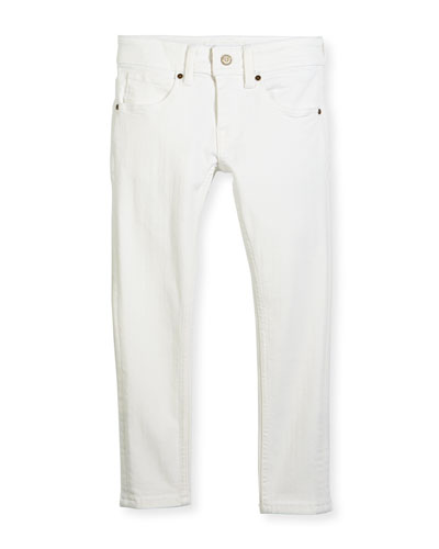 Skinny Stretch Denim Jeans, White, Size 4-14