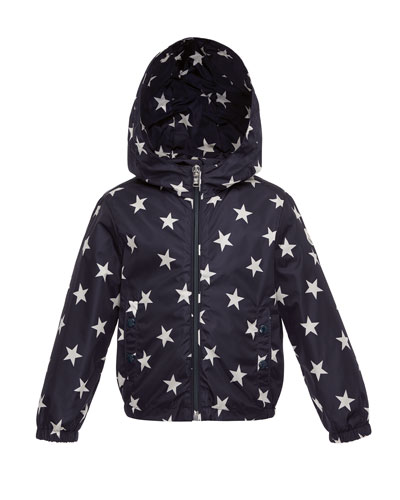 Houri Hooded Star-Print Rain Jacket, Navy, Size 4-6