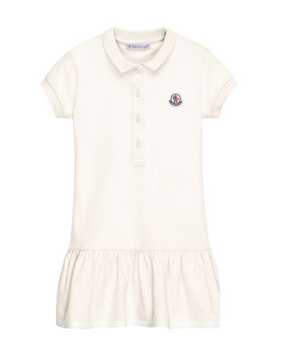 Short-Sleeve Cotton-Blend Polo Dress, White, Size 4-6