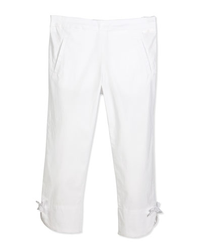 Stretch Bow-Trim Ankle Pants, White, Size 2-6