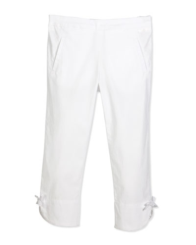 Stretch Bow-Trim Ankle Pants, White, Size 8-10