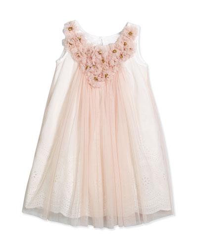 Sleeveless Tulle Rosette Shift Dress, Pink, Size 4-8