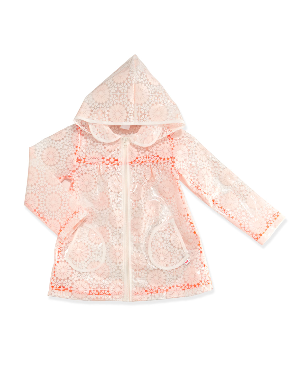 Sheer Floral Raincoat, Pink, Size 4-8