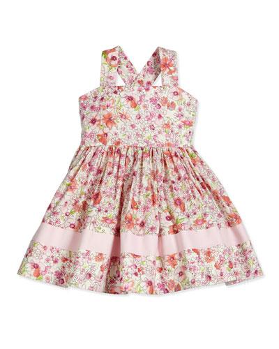 Sleeveless Floral Poplin Sundress, Pink, Size 7-12