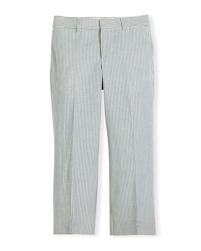 Woodsman Striped Seersucker Pants, Blue/Cream, Size 4-7