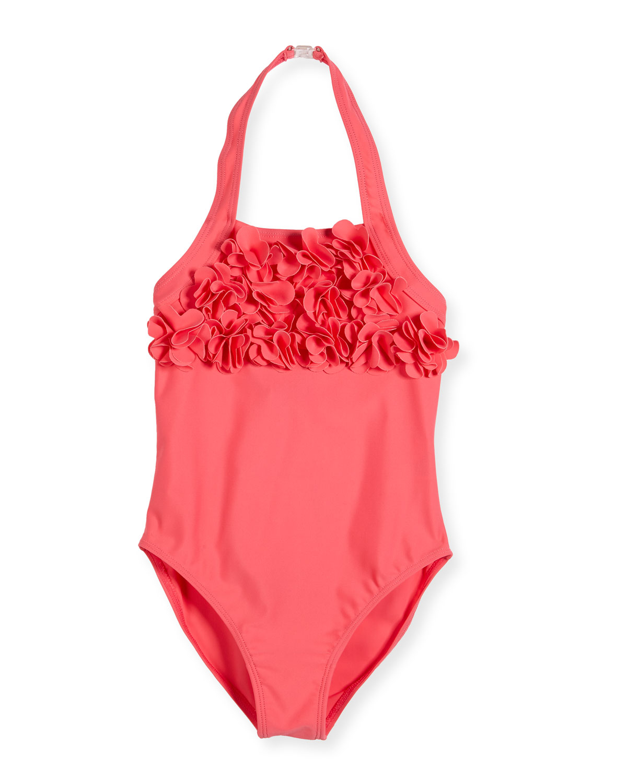 One-Piece Ruffle Halter Swimsuit, Watermelon, Size 2-6