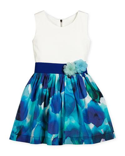 Sleeveless Watercolor A-Line Dress, Blue/White, Size 4-6