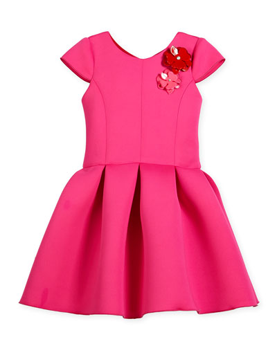Cap-Sleeve Neoprene Pleated Party Dress, Hot Pink, Size 7-16