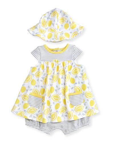Cap-Sleeve Cotton Lemon-Print Play Dress w/ Hat, Yellow, Size 3-12 Months