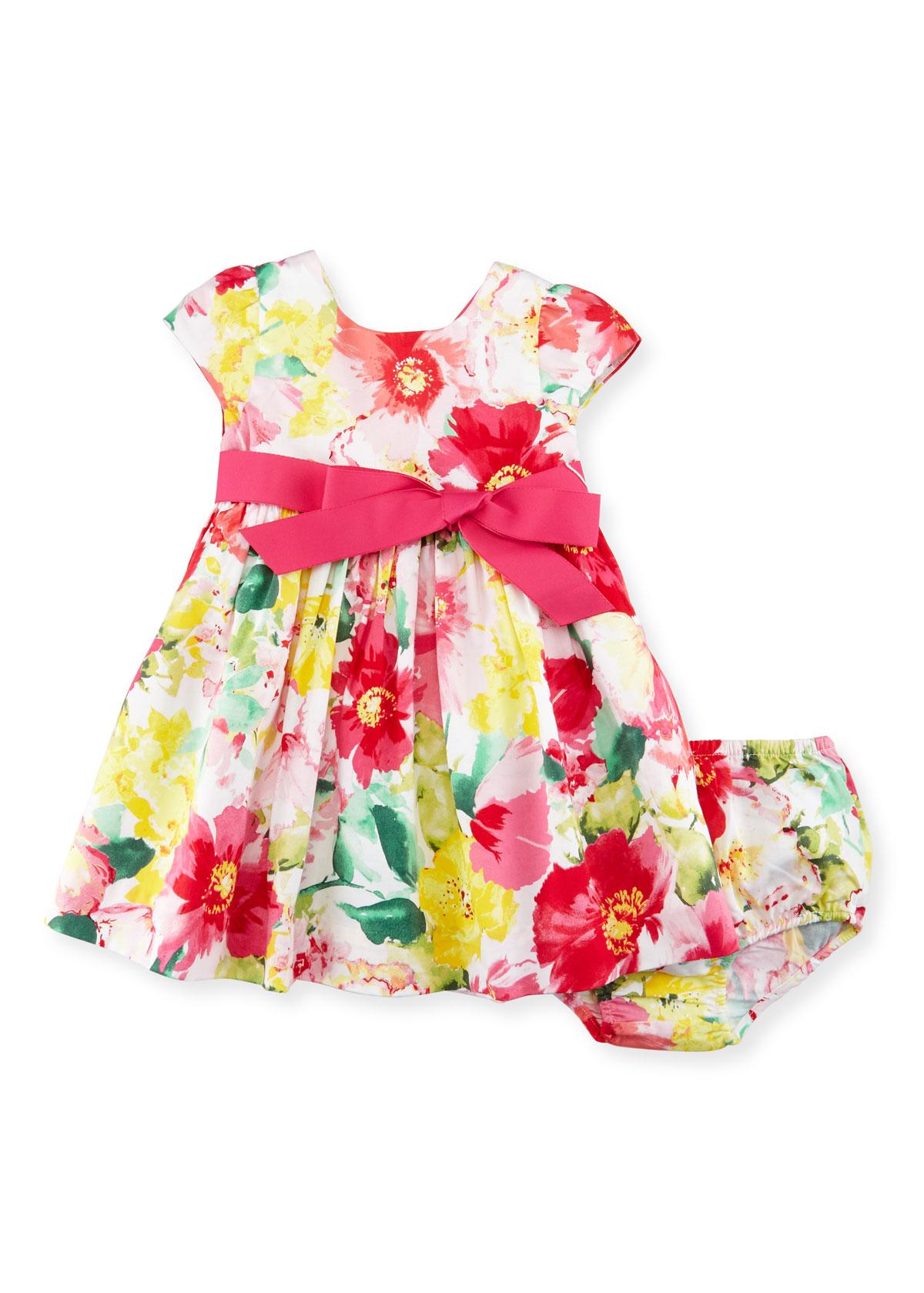 Cap-Sleeve Floral Poplin Dress w/ Bloomers, Pink, Size 9-24 Months