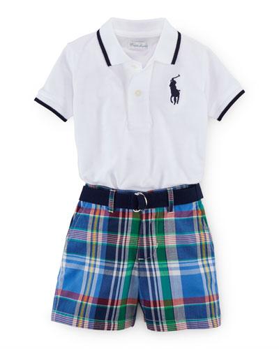 Tipped Basic Mesh Polo Shirt w/ Plaid Shorts, White, Size 9-24 Months ...