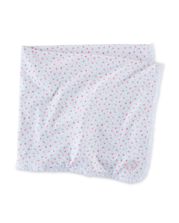 Floral Cotton Blanket, White