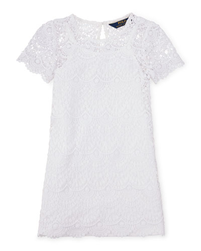 Short-Sleeve Chemical Lace Shift Dress, White, Size 2-6X