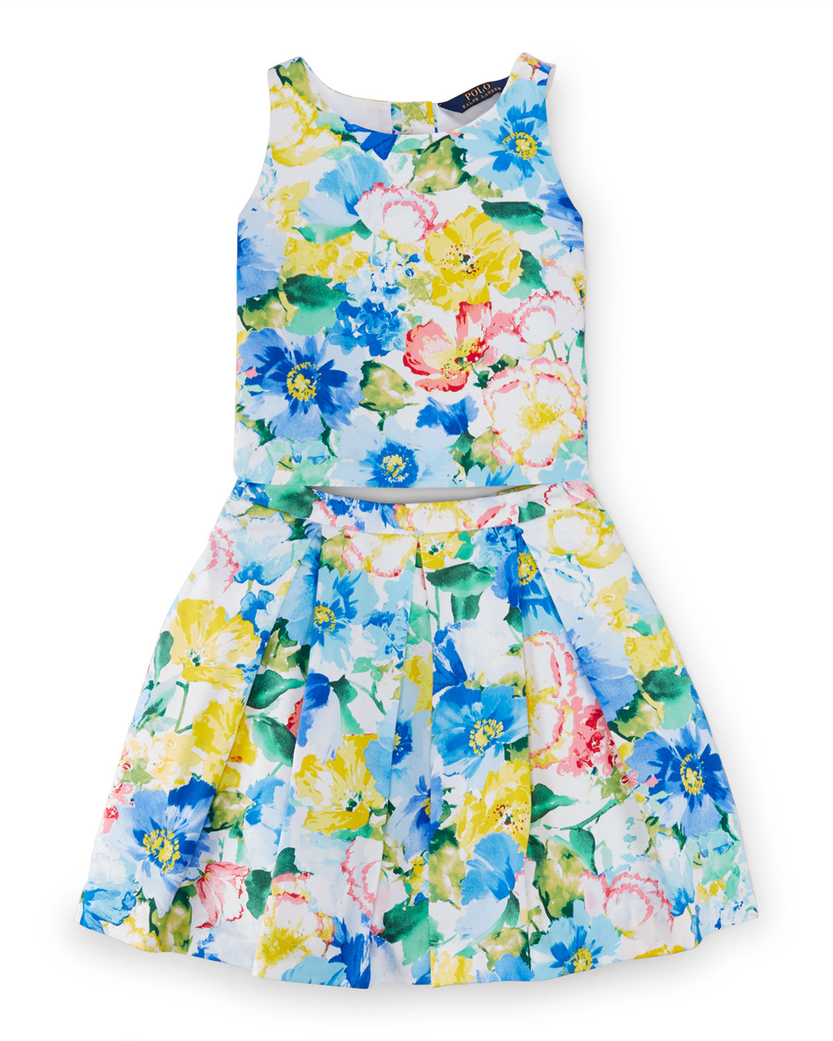 Cotton Floral Top & Pleated Skirt, Blue/White, Size 8-10