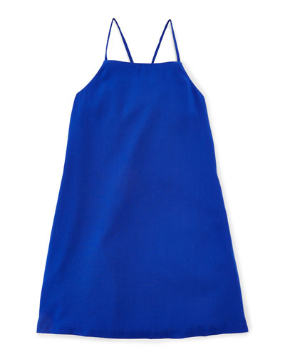 Woven Strappy Tank Dress, Deep Royal, Size 5-6X