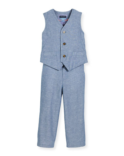 Tailored Linen-Blend Vest & Straight-Leg Pants, Blue, Size 2-6