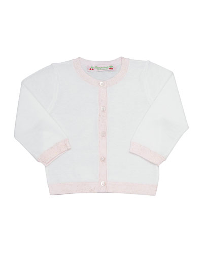 Trimmed Button-Front Cotton Cardigan, Milky White, Size 6 Months