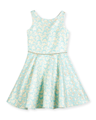 Sleeveless Daisy Brocade Fit-and-Flare Dress, Turquoise, Size 8-16