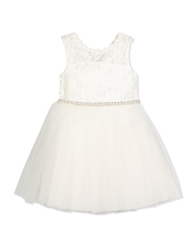 Sleeveless Lace & Tulle Special Occasion Dress, Ivory, Size 2-6