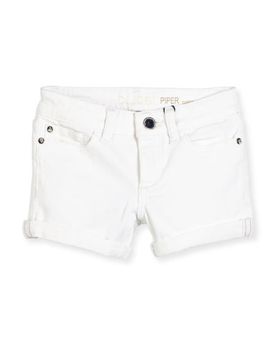Girls' Piper Cuffed Denim Shorts, Griffon, Size 7-16