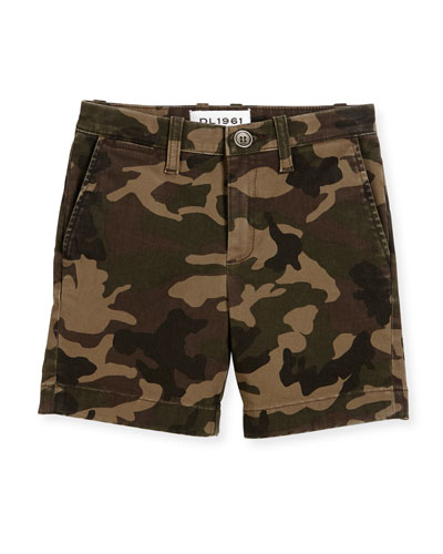 Jacob Camo Stretch Chino Shorts, Trooper, Size 8-16