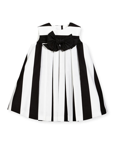 Striped Pleated Shift Dress, Black/White, Size 6M-3