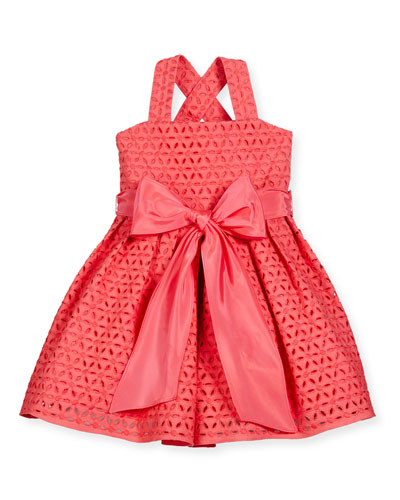 Sleeveless Cross-Back Eyelet Dress, Coral, Size 4-6