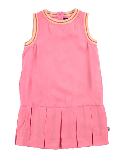 Sleeveless Tipped Pleated Dress, Carnation Pink, Size 3-14