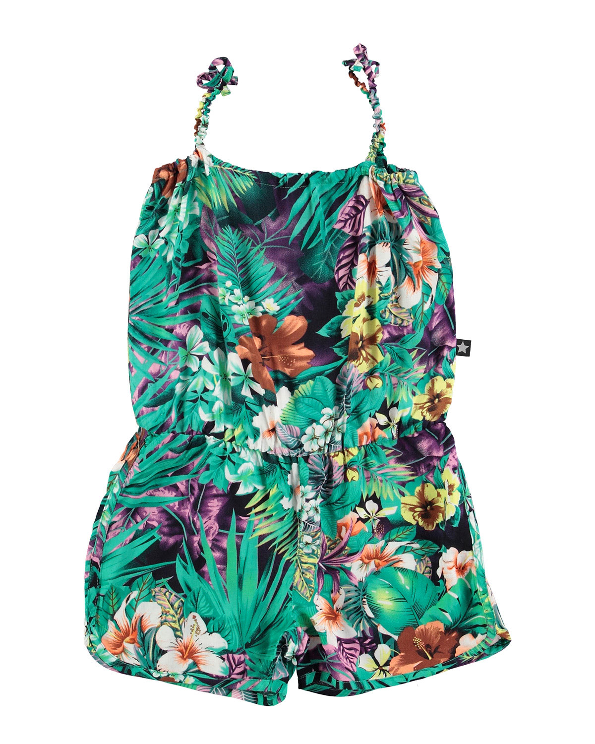 Sleeveless Floral Stretch Romper, Turquoise, Size 3-14